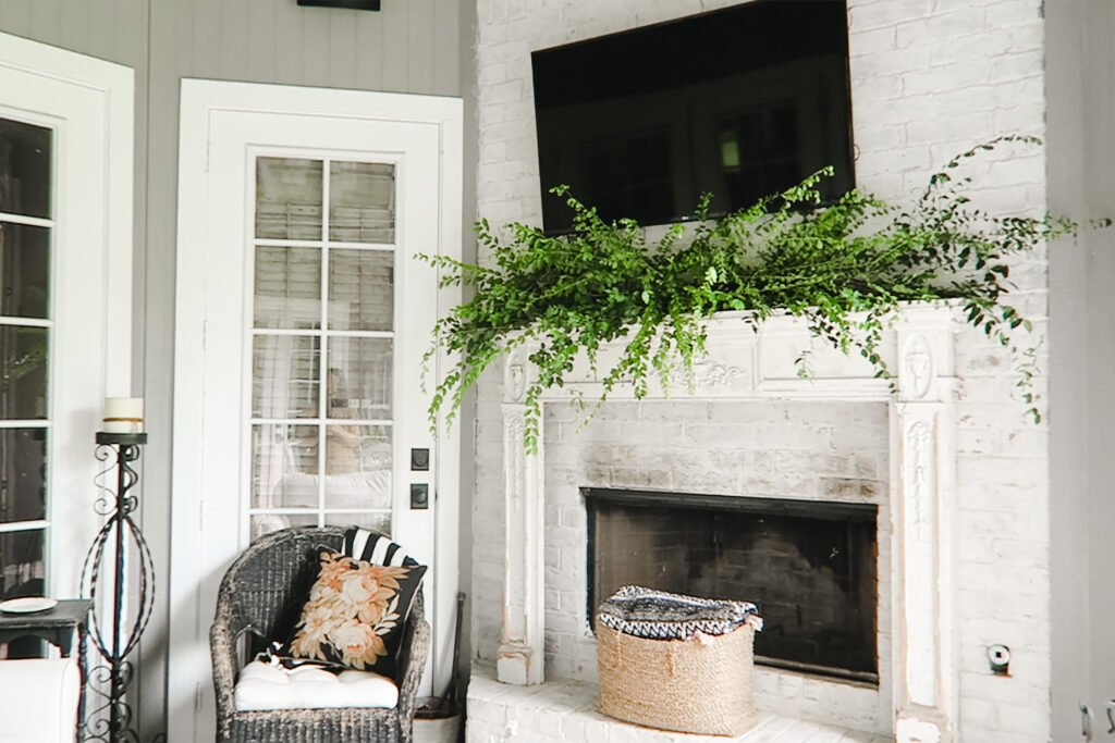 vintage outdoor fireplace mantel