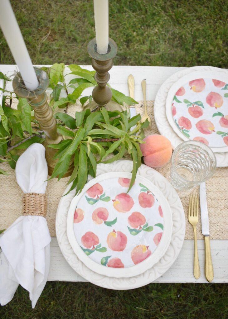 peach themed tablescape