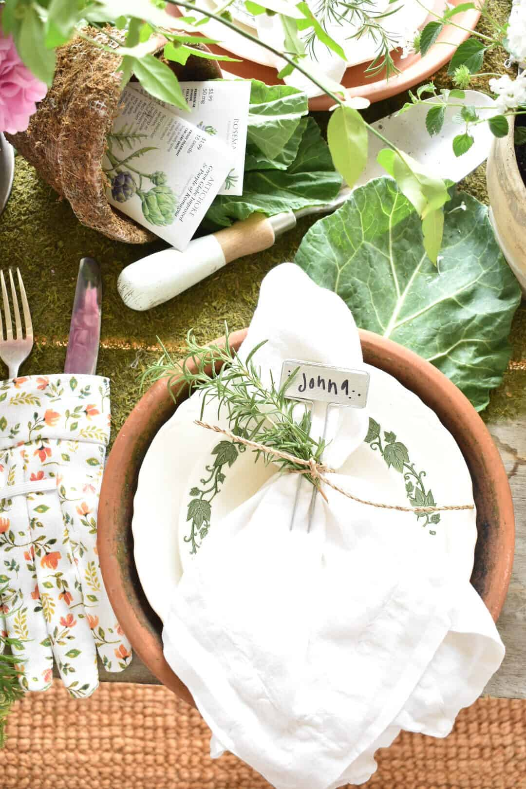 garden inspired tablescape