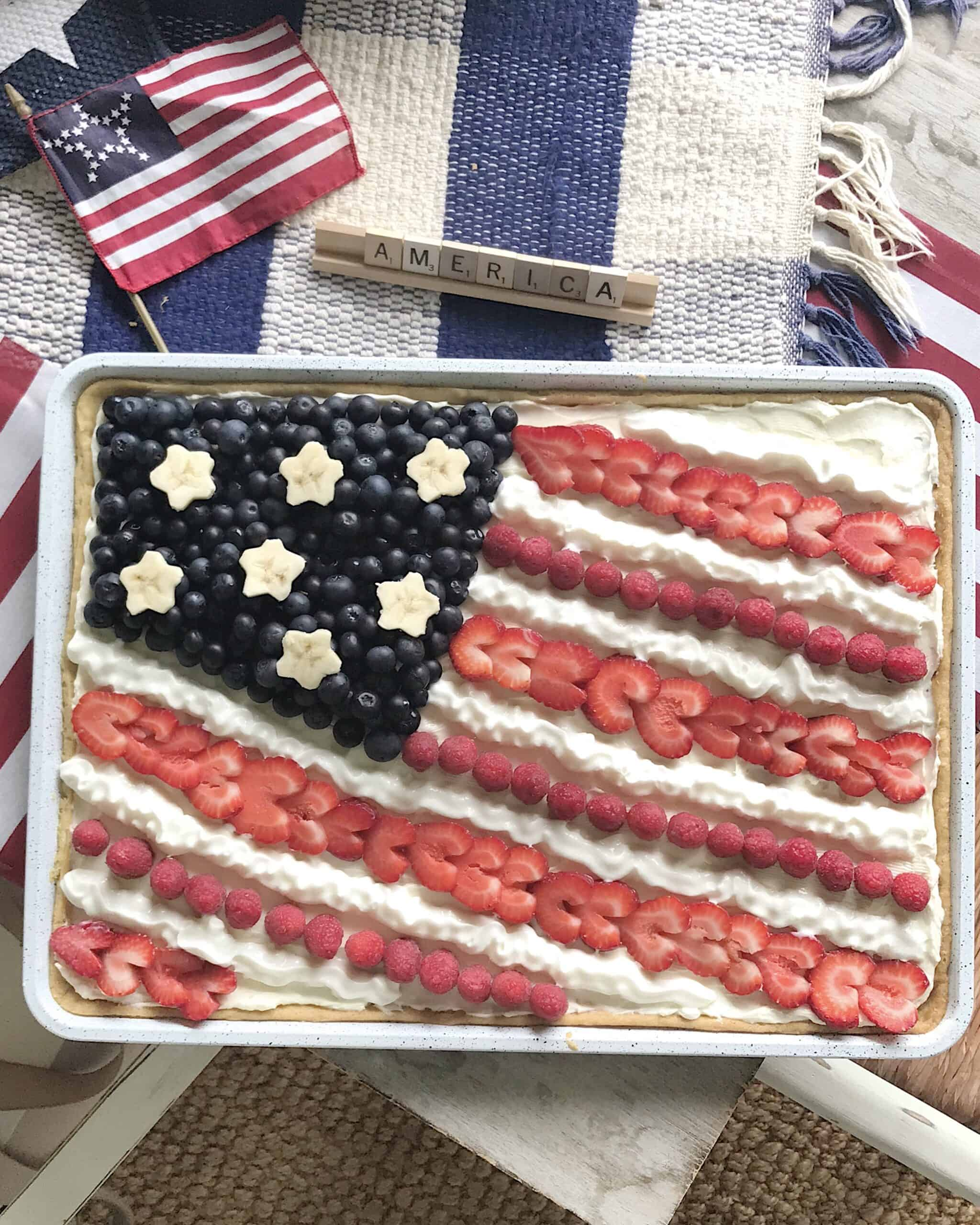 american flag dessert pizza