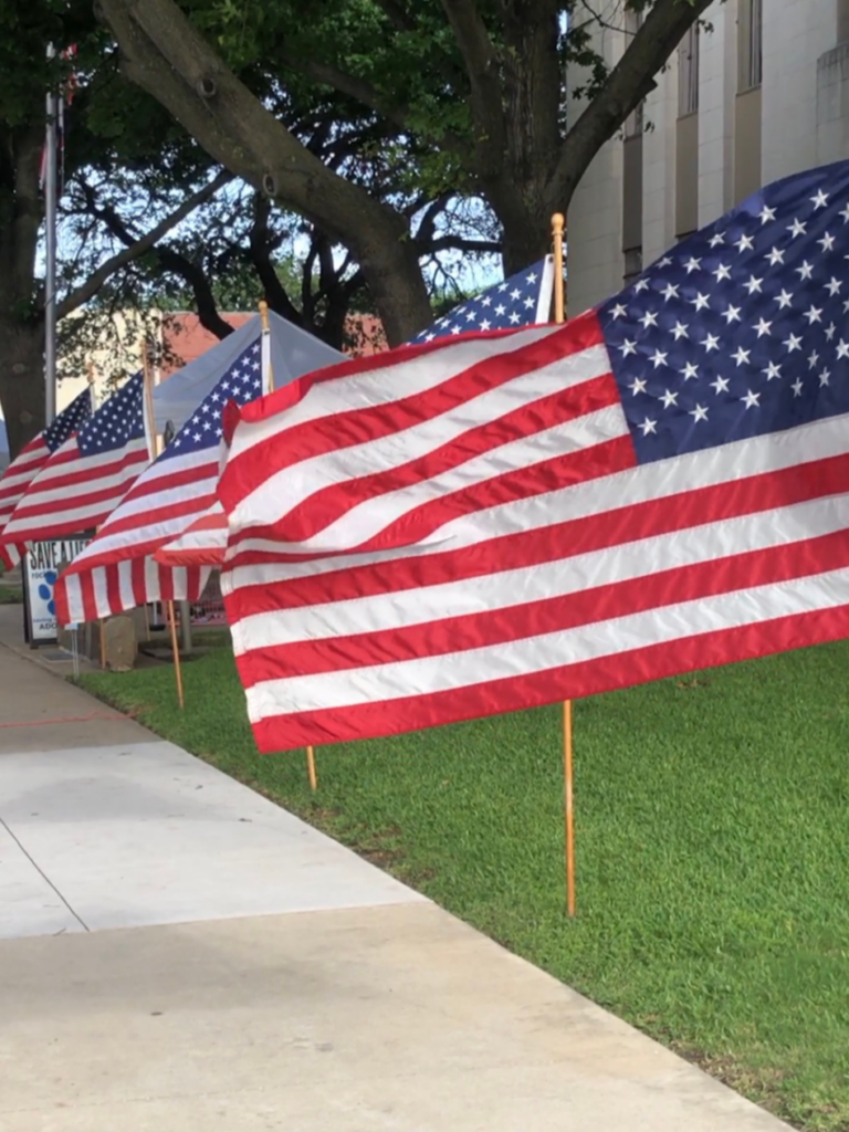 5 American flags in a row waving in the wind poles standing in grass