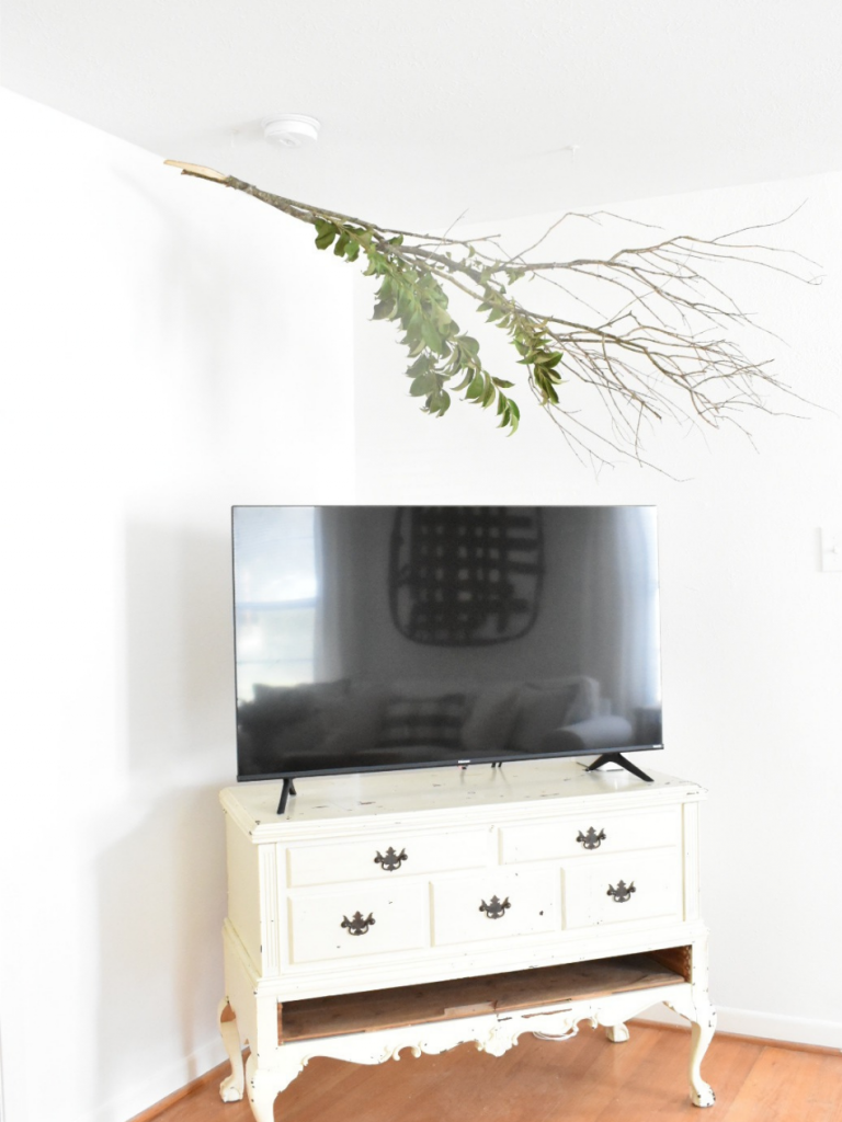 white dresser with TV sitting on top and a live branch hanging from the ceiling overhead