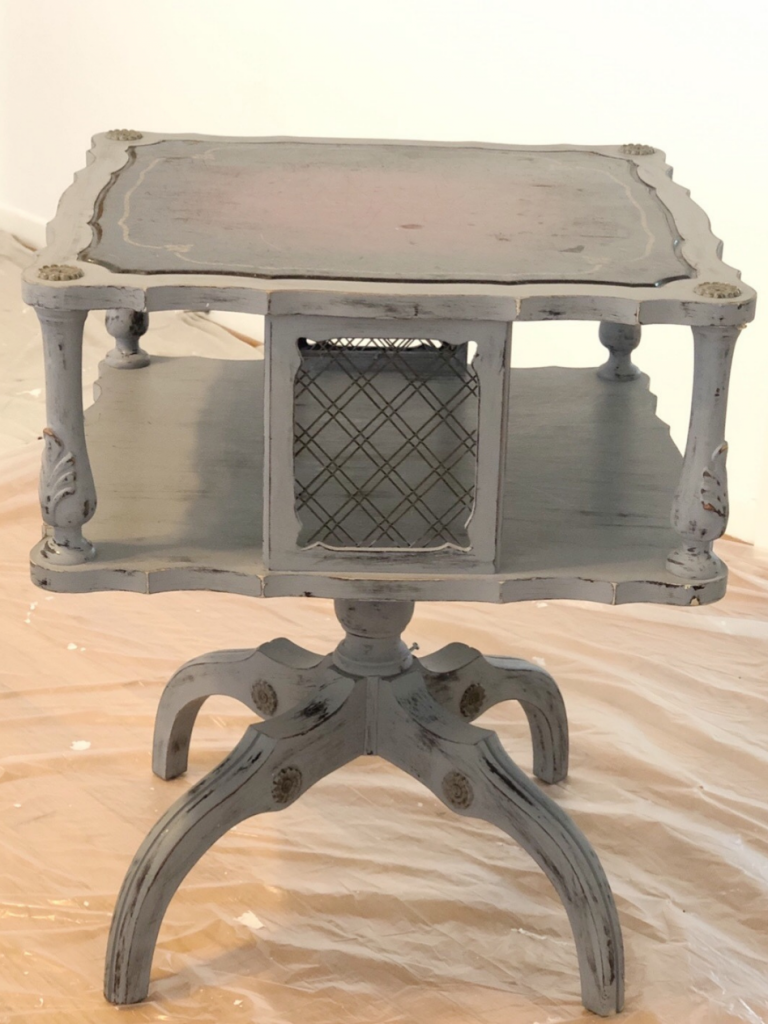 square gray side table with leather inset top