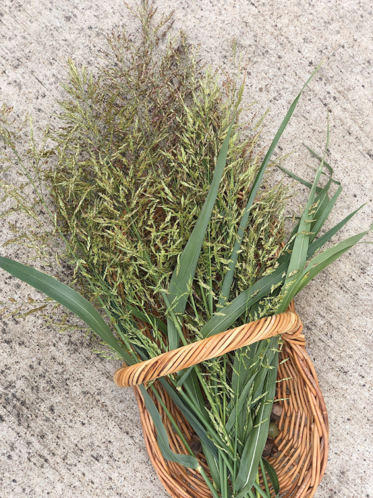 wicker basket of fall grasses