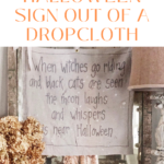 pinterest pin how to make a halloween sign out of a dropcloth
