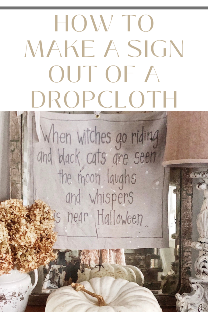 pinterest pin for making a sign out of a dropcloth