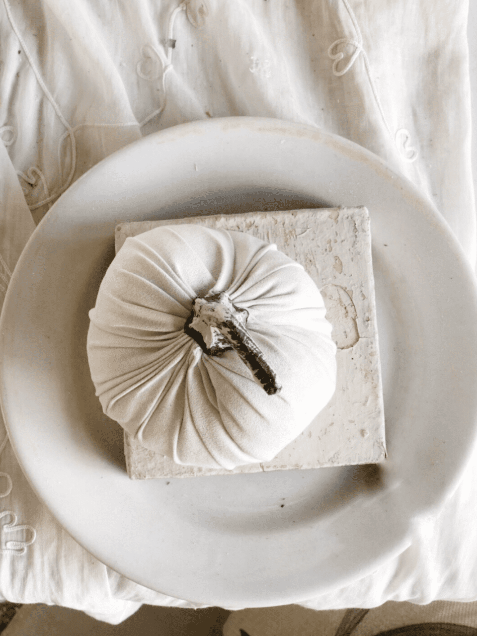 white fabric pumpkin on top of white chippy wood piece on top of whte plate overhead shot
